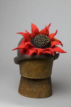 Gorgeous black and red flower hat by Dawn Edwards
