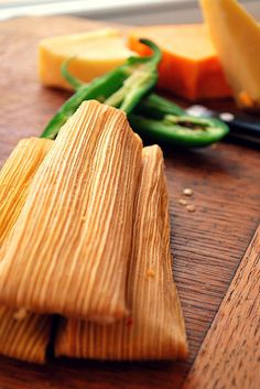 Cheese and Jalapeno Tamales - Tamales de queso con chile jalapeño, Mexico.