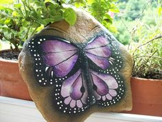 Painted Garden Rocks | Pretty butterfly stone for the garden