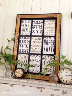 patina white, yard sticks, craft, letter, old clocks