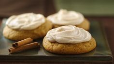 Pumpkin Cookies with Browned Butter Frosting -- Pumpkin and spice star in a melt-in-your-mouth cookie topped with a special homemade frosting.