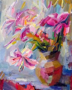 Pale Lilies 3: Maturity by Lena Levin   oil painting   Ugallery Online Art Gallery