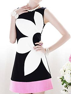 TS-Color Block Splicing Floral A-Line Dress