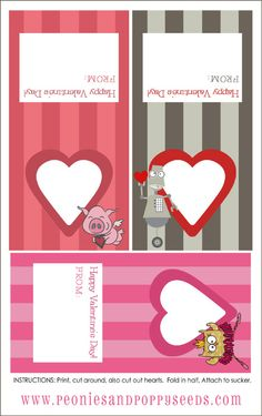 Quick and easy Valentine printables - can be used with or without lollipops