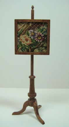 Miniature Dollhouse Fireplace Screen with Antique Needlepoint