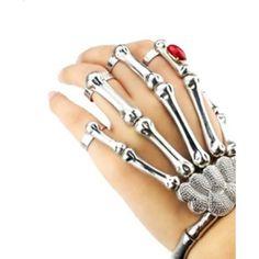 Silver Skeleton Bone Hand Bracelet with Ring Detail ($30) ❤ liked on Polyvore