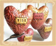 adorable custom polymer clay heart ornaments.  I just love hearts :)