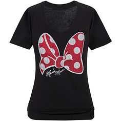 V-Neck Glitter Bow Minnie Mouse Tee for Women disney land world trip family shirt