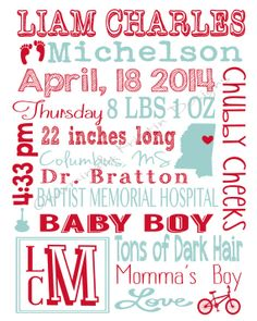 Personalized Nursery Art for Baby Boy - Choose Any Colors on Etsy, $30.00
