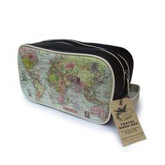 world map wash bag
