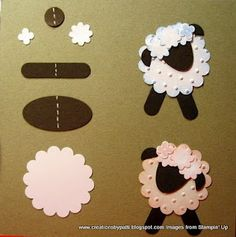 Sheep paper craft, baby cards, crafti, paper punch art, lamb, diy, scrapbook, crafts, baby showers