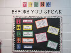 """""""THINK before you speak"""" bulletin board-  scripture verses on the right side of the bulletin board."""