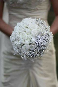 Winter wedding bouquet gray winter wedding  theme brooch bouquets, bridal bouquets, white roses, wedding ideas, wedding bouquets, wedding photos, cinderella wedding, winter weddings, broach bouquets