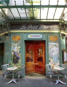 This lovely french cafe looks so cozy!  I could sit there for hours with a latte and a good book. >>> I am entirely transported to Paris right now!