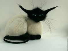 Sweet felted Siamese cat
