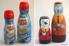 Coffee creamer container into a penguin and walrus