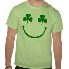 Shamrock smiley face shirts #stpatricksday #stpattys #stpattysday #shamrock #irish #green #luck #zazzle #funnytshirts #sweepstakes