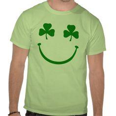 Shamrock smiley face shirts #stpatricksday #stpattys #stpattysday #shamrock #irish #green #luck #zazzle #funnytshirts #sweepstakes