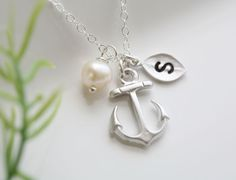 Anchor Necklace,Anchor with leaf initial,Pearl,Sailors Anchor,Wedding Jewelry,Bridesmaid gifts,daily Jewelry,strength. via Etsy.