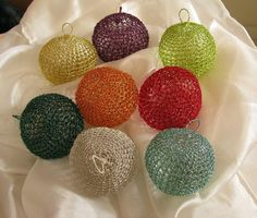 Wire crochet Christmas ornaments