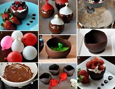 Chocolate Bowls With Chambord Whipped Cream, Strawberry and Berries