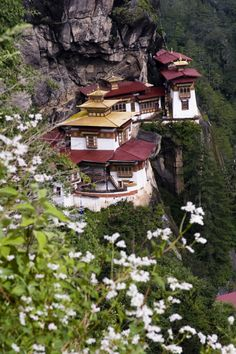 Tiger's Nest Monastery, Paro, Bhutan. A temple complex was first built in 1692, around the Taktsang Senge Samdup (stag tshang seng ge bsam grub) cave where Guru Padmasambhava is said to have meditated for three months in the 8th century.     ]]>