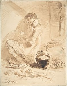 Man Sitting on the Ground with Jars and Food Anonymous, British, late 18th to early 19th century