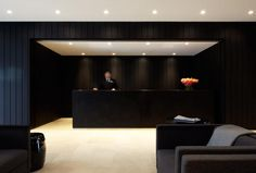 The lobby of the Burbury Hotel in Canberra, Australia by architect KRM Katon Redgen Mathieson _