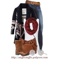 My Version: Black & Grey Tribal Cardigan, Dark Wash Skinny Jeans, White Tank Top, Red Infinity Scarf, Black Booties.