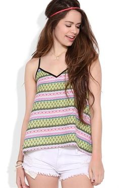 Deb Shops Chiffon Trapeze Tank with Tribal Print and Solid Trim $14.25