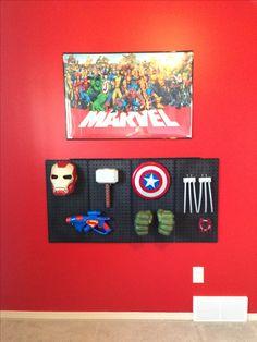 Superhero room: pegboard for superhero disguise & gadgets superhero room ideas, avengers bedroom ideas, bedroom superheros, avengers boys bedroom, avengers room ideas, avengers boys room, superhero bedroom ideas, avenger bedroom ideas, boy room