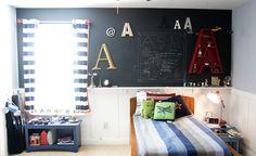 chalkboard wall, love the letters.