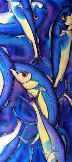"Fish Silk Scarf.  Large silk scarf. Blue Fish scarf.  15"" x 58"" Free gift wrapping"