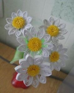 bouquet, daisi, paper flowers, flower pots, quilling patterns, beauty, picture frames, paper quilling, flower patterns