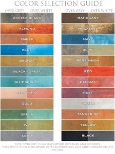 Sim Stain concrete stain colors offer a wide variety of vibrant colors.  Color chart provided by L and M Industries LLC concrete floor ideas, colors of concrete, color chart, concrete stain floors, concret stain, concrete stain colors, colors of stained concrete, concrete floor stain, concrete stained floors