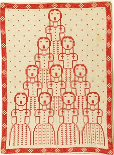 Retro 1972 'Angel Chorus' Danish geometric cross stitch #embroidery worked in red floss on ecru even-weave linen, 22-count, cross stitch, back stitch and straight stitch with Assisi-style border with red gingham backing.  Designed by Gerda Bengtsson; see pgs 58-59 of Book of Danish Stitchery, published by the Danish Handicraft Guild.       14.25 x 10.5 in (36.2 x 26.7 cm)