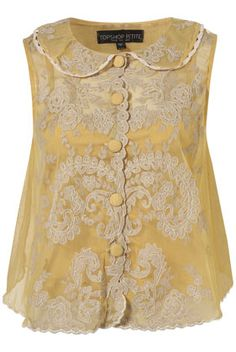 Ever so pretty. blouses, teacher clothes, lace tops, style, peter pan collars, soft color, appliques, white lace, yellow