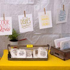 print display, clotheslines, market stall display ideas, place cards, card displays, art tips, renegade craft fair, craft stalls, kitchen towel