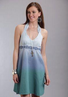 Stetson® Green Dip Dyed Western Halter Dress