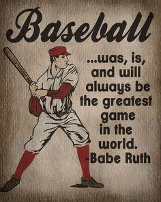 Vintage Baseball Art Print - Kids Baseball Room Decor - Babe Ruth Quote. $12.00, via Etsy.