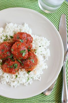 Slow Cooker Tamale Balls Recipe from Taste and Tell; Ground beef and pork is combined with cornmeal, flour, and Mexican flavored spices and then cooked in a tomato and chili powder flavored sauce.  Doesn't that sound delicious!  [via Slow Cooker from Scratch] #CrockPot #SlowCooker #FreezerFriendly #DairyFree