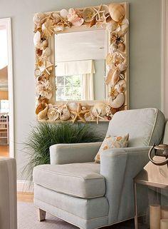 love this mirror idea bathroom mirrors, beach homes, shells, beach houses, framed mirrors, shell mirror, sea, themed rooms, newport beach