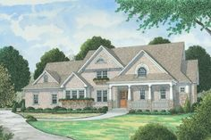 Grand shingle style home with craftsman touches and a thoroughly modern kitchen / family room combination.  Plan 413-886.