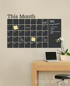 chalkboard calendar. Maybe make this on a poster frame with chalboard paint and painter's tape (instead of having a writeon-wipeoff board)?