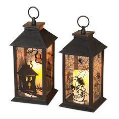 Gerson 2-pk. Halloween Lanterns & LED Pillar Candles - Indoor & Outdoor