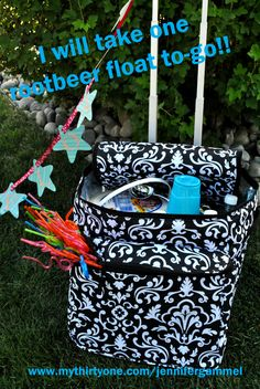 Rootbeer float bar to go, a fun way to have a party! Use any cooler - the one pictured is Thirty-One hostess exclusive Making Memories Thermal.