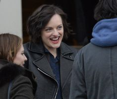 "Elisabeth Moss talks to friends outside the Library Center, before the premiere of ""Listen Up Philip"" at the Sundance Film Festival in Park City. (Rick Egan  