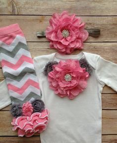 Pink Gray Grey Baby Girl Outfit Baby Girl by AvaMadisonBoutique, $40.00