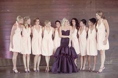 Purple Wedding Bridal Gown with White Bridesmaid Dresses