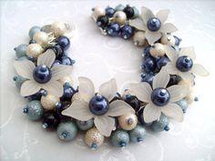 Pearl Beaded Bracelet With Flowers Cluster Bracelet by KIMMSMITH, $18.00